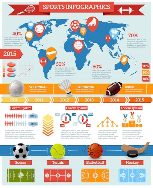 Conjunto de infografías deportivas vector gratuito