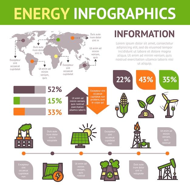 Conjunto de infografías de energía Vector Premium