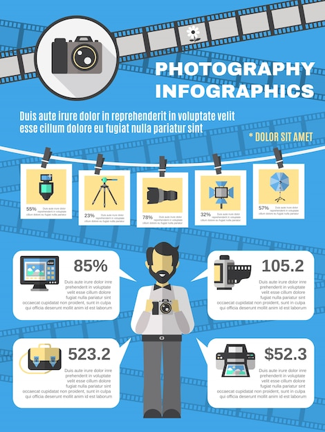 Conjunto de infografías de fotografía vector gratuito