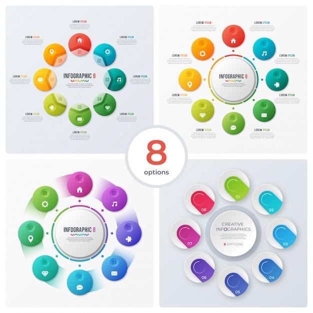Conjunto de infografías y gráficos circulares modernos Vector Premium
