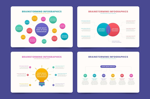 Conjunto de infografías de lluvia de ideas de diseño plano vector gratuito