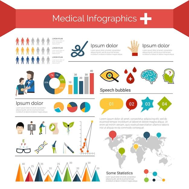 Conjunto de infografías médicas vector gratuito