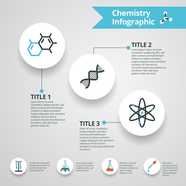 Conjunto de infografías de química vector gratuito