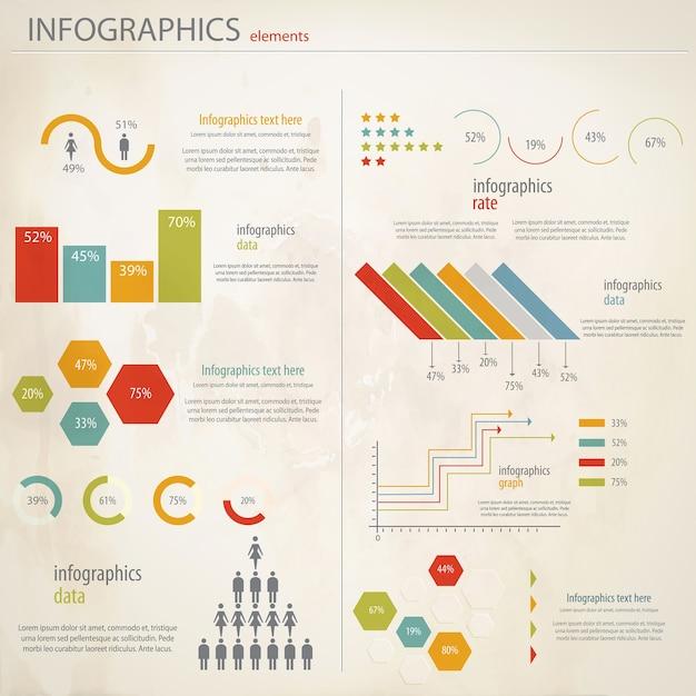 Conjunto de infografías retro. Vector Premium