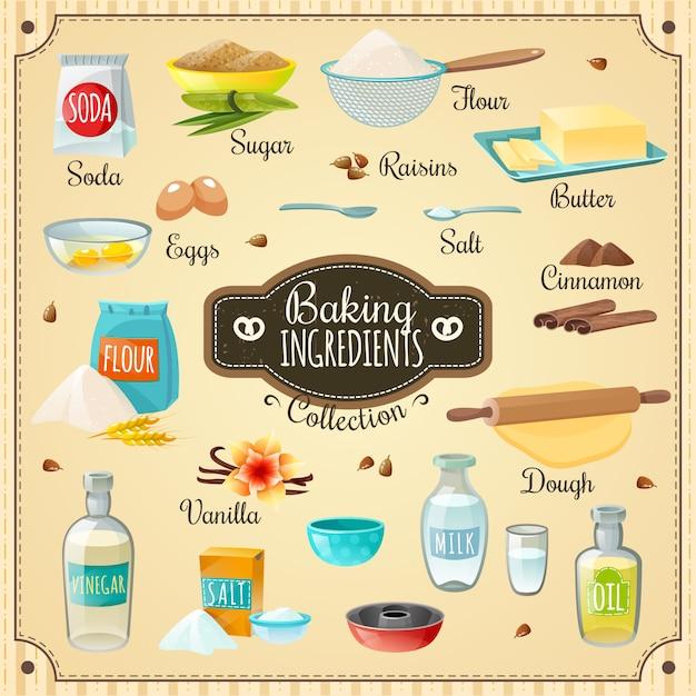 Conjunto de ingredientes para hornear vector gratuito