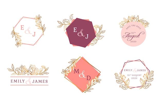 Conjunto de insignia floral dorada de boda vector gratuito