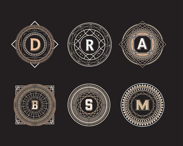 Conjunto de insignia de línea de forma de círculo geométrico Vector Premium