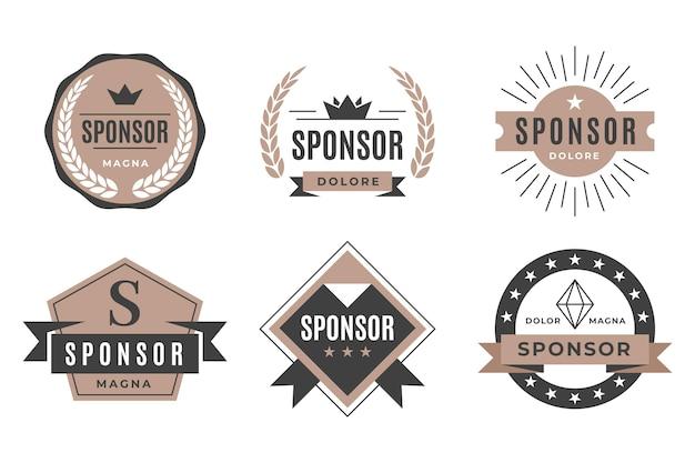 Conjunto de insignia de patrocinador vintage vector gratuito