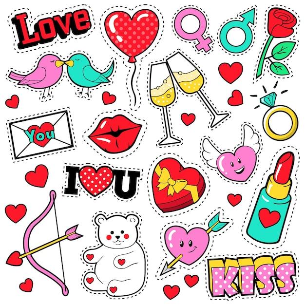 Conjunto de insignias de amor de moda con parches, pegatinas, labios, corazones, besos, lápiz labial en estilo cómic pop art. ilustración Vector Premium