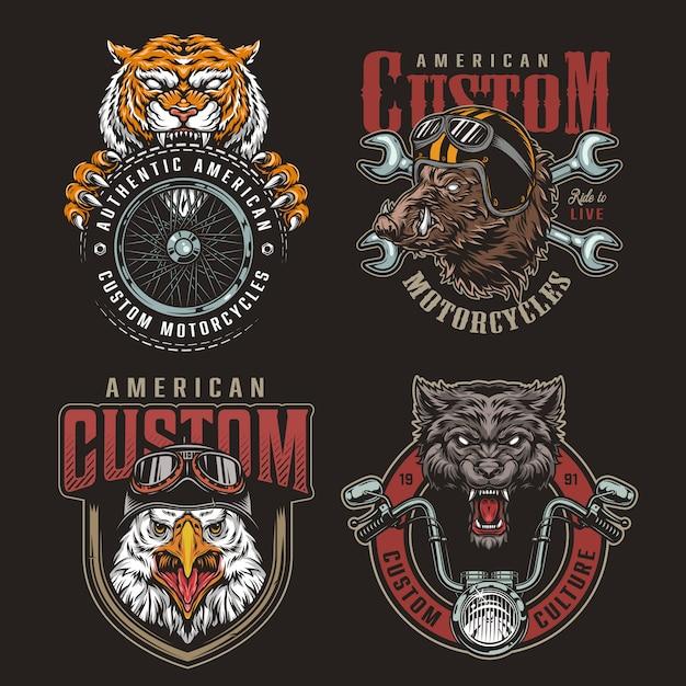 Conjunto de insignias de animales coloridos moteros mascotas Vector Premium