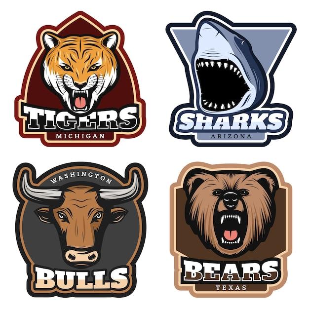 Conjunto de insignias de animales salvajes coloridos vector gratuito