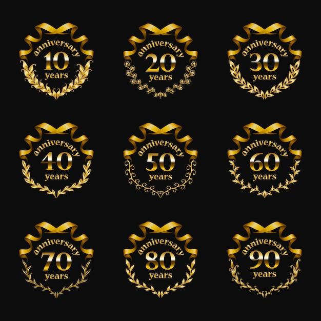 Conjunto de insignias de aniversario de oro Vector Premium