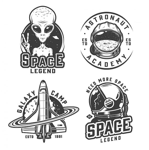 Conjunto de insignias de espacio monocromo vintage vector gratuito