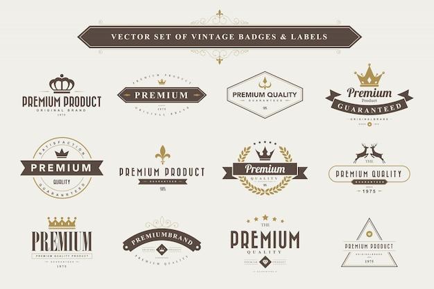 Conjunto de insignias y etiquetas vintage. Vector Premium