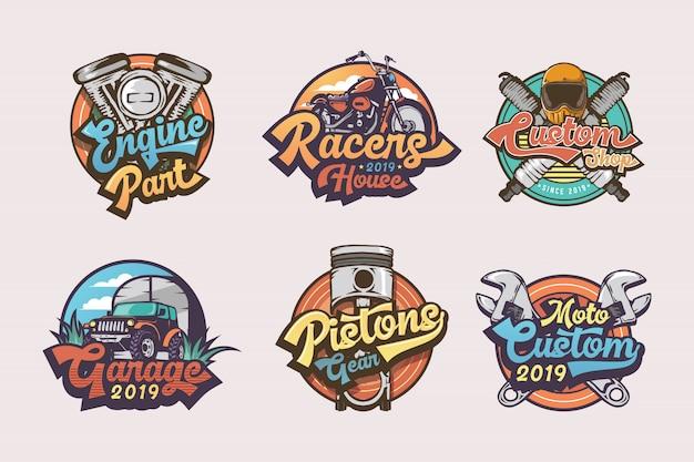 Conjunto de insignias de garaje vintage etiquetas, emblemas y logotipo Vector Premium