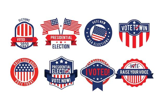 Conjunto de insignias y pegatinas de votación. vector gratuito