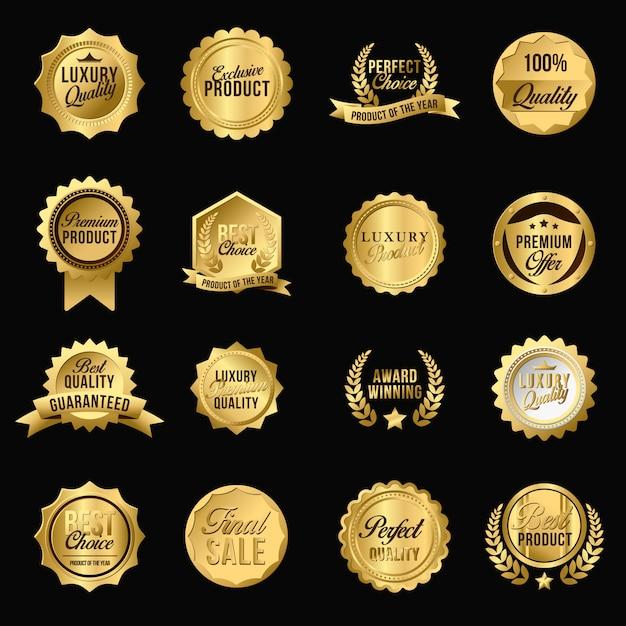 Conjunto de insignias planas doradas de lujo vector gratuito