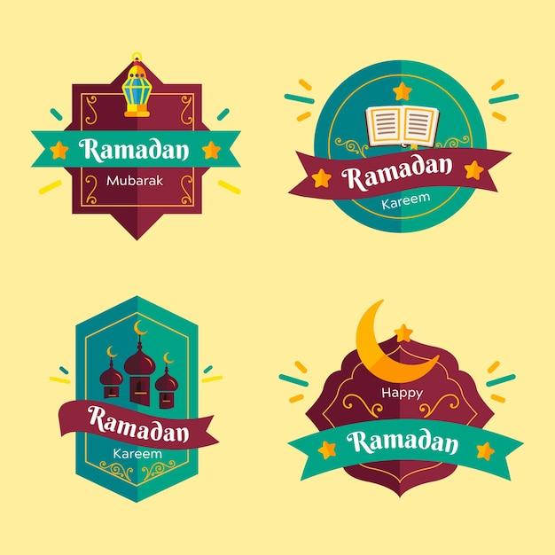 Conjunto de insignias de ramadán de diseño plano vector gratuito