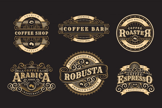 Conjunto de insignias vintage café, cafetería y emblemas. Vector Premium