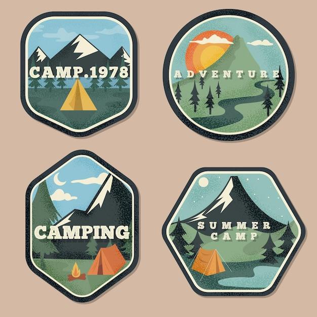 Conjunto de insignias vintage de camping y aventuras vector gratuito