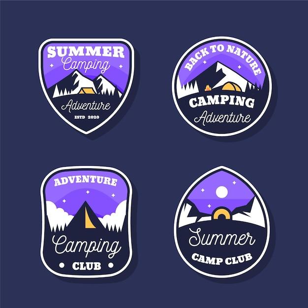 Conjunto de insignias vintage de camping y aventuras. vector gratuito
