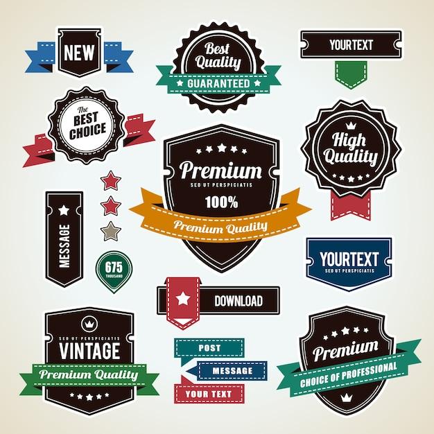 Conjunto de insignias vintage vector gratuito