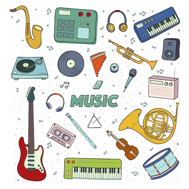Conjunto de instrumentos musicales. ilustración colorida Vector Premium