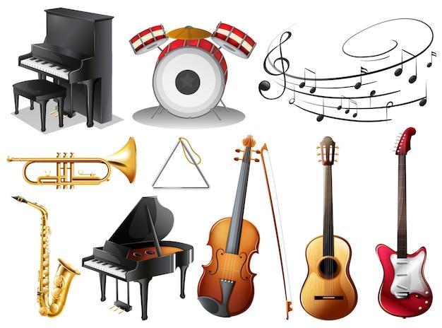 Conjunto de instrumentos musicales vector gratuito