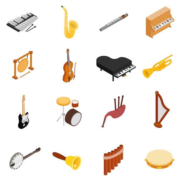 Conjunto de instrumentos musicales Vector Premium