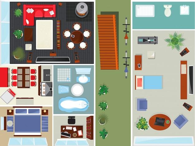Conjunto interior del apartamento vista superior Vector Premium
