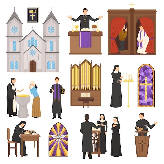 Conjunto interior de la catedral de la religión vector gratuito
