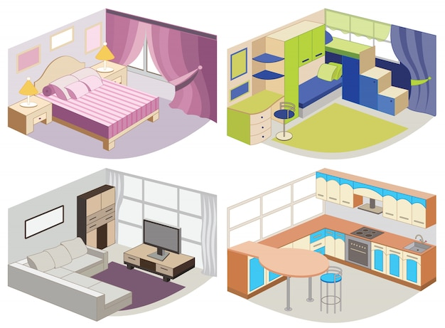 Conjunto de interiores modernos. Vector Premium