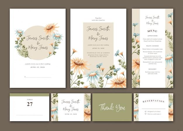 Conjunto de invitación de boda daisy acuarela Vector Premium