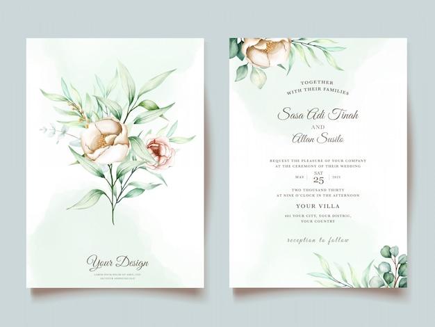 Conjunto de invitación de boda eucalipto vector gratuito