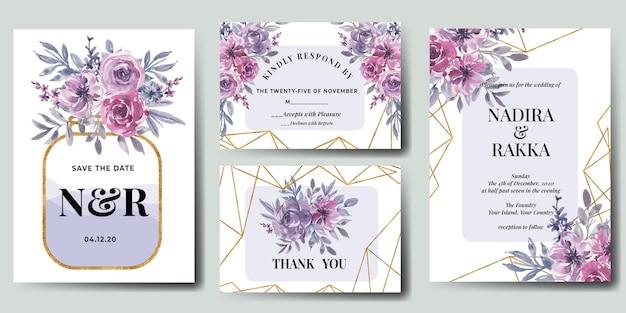 Conjunto de invitación de boda floral acuarela rosa flor morada oro vector gratuito