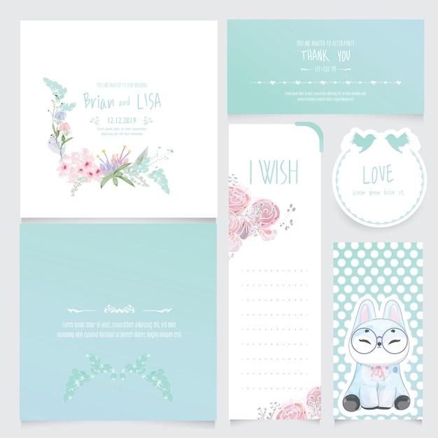 Conjunto de invitación de boda floral vintage en estilo acuarela. Vector Premium