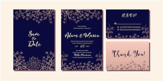 Conjunto de invitación de boda de lujo de oro rosa floral moderno Vector Premium