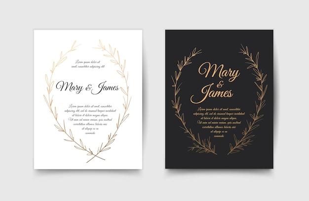 Conjunto de invitaciones de boda con mano dibujado laurel wreaths. diseño vintage ilustración vectorial Vector Premium