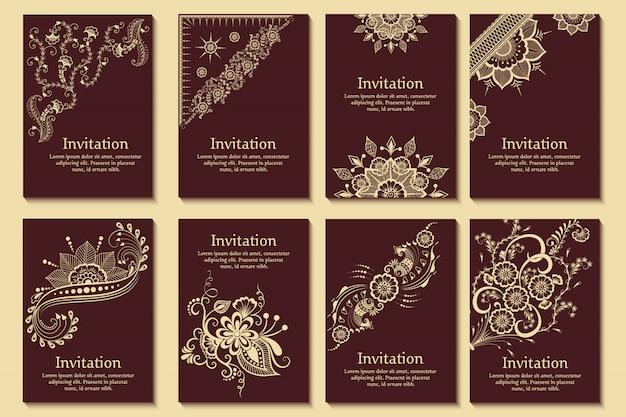 Conjunto de invitaciones de boda y tarjetas de anuncio con adornos en estilo árabe. patrón de arabescos. vector gratuito