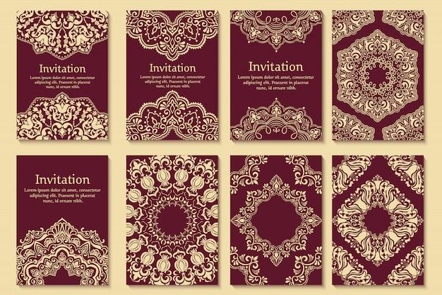 Conjunto de invitaciones de boda y tarjetas de anuncio con adornos en estilo árabe. vector gratuito