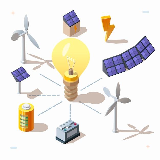 Conjunto isométrico 3d de fuentes alternativas de energía renovable ecológica, iconos de energía eléctrica. paneles solares, bombilla eléctrica, turbinas eólicas, batería, generador de energía, voltaje. símbolos eléctricos. vector gratuito