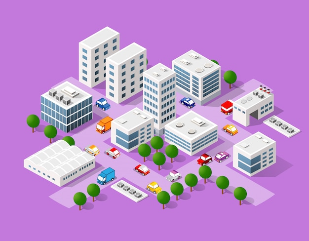 Conjunto isométrico de la ciudad moderna. Vector Premium