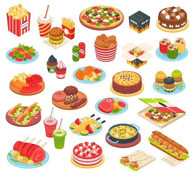 Conjunto isométrico de comida rápida vector gratuito