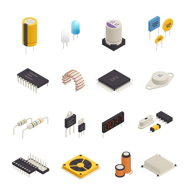 Conjunto isométrico de componentes electrónicos de semiconductores vector gratuito