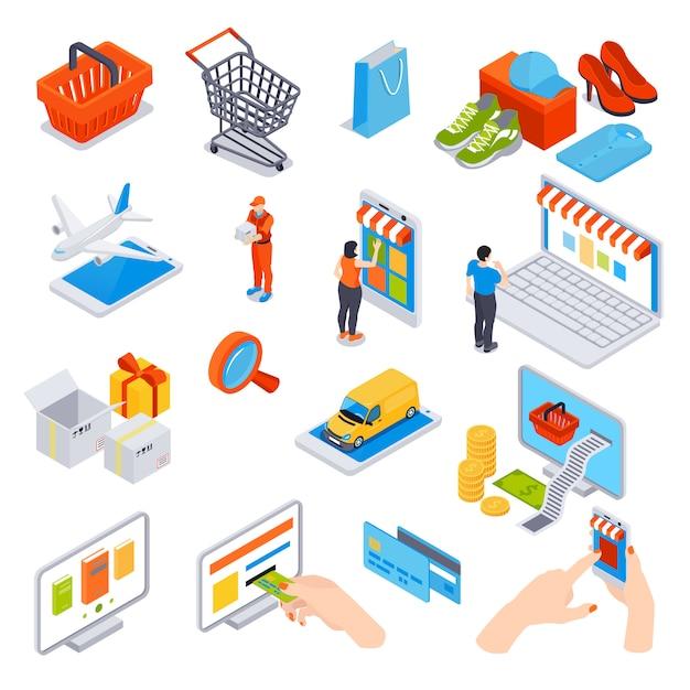 Conjunto isométrico de compras en línea de dispositivos de tarjetas de crédito que se utilizan para el transporte de pedidos y pagos vector gratuito