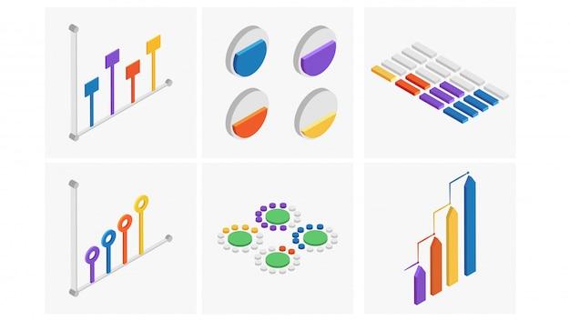 Conjunto isométrico del elemento colorido infografía. Vector Premium