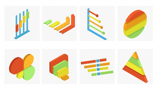 Conjunto isométrico de elemento de infografía empresarial en diferentes colores. Vector Premium