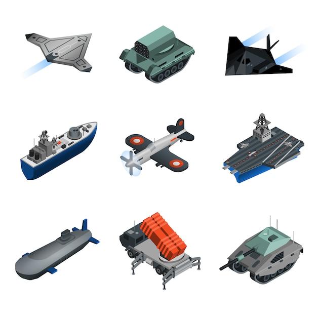 Conjunto isométrico de equipamiento militar vector gratuito