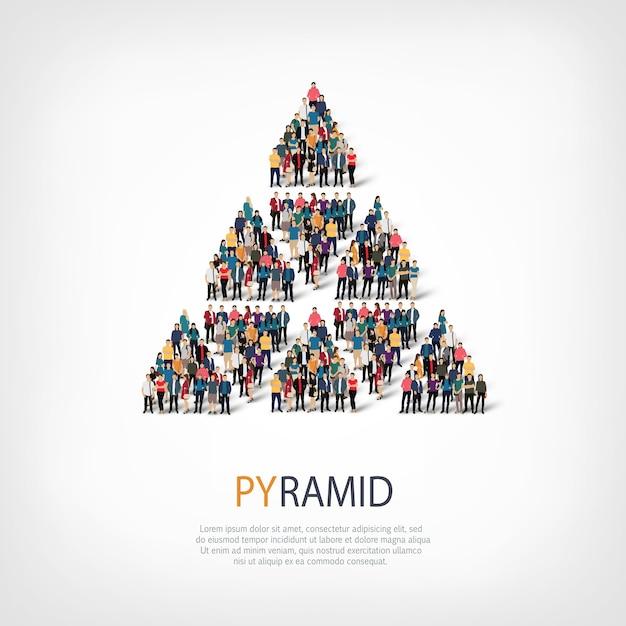 Conjunto isométrico de estilos, pirámide, ilustración del concepto de infografía web de una plaza llena de gente. grupo de puntos de multitud que forma una forma predeterminada. gente creativa. Vector Premium