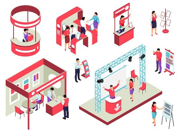 Conjunto isométrico de exposición comercial con equipo de exposición de personal y visitantes y folletos promocionales aislados vector gratuito